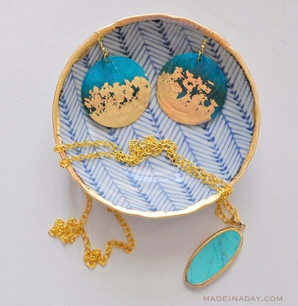 gold gilded teal earrings, gold gilded jewelry bowl
