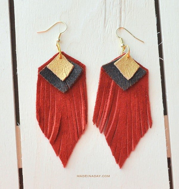 DIY Red Gold Suede Leather Earrings madeinaday.com