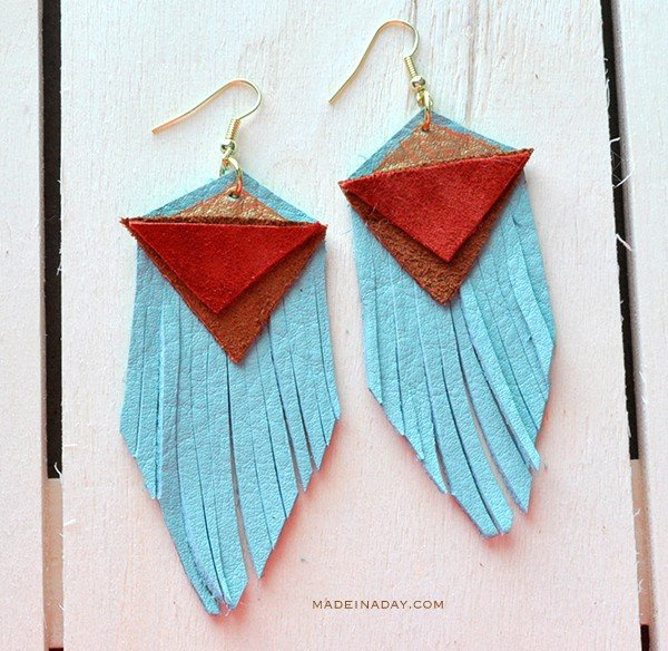 DIY Teal Blue Red Leather Earrings madeinaday.com