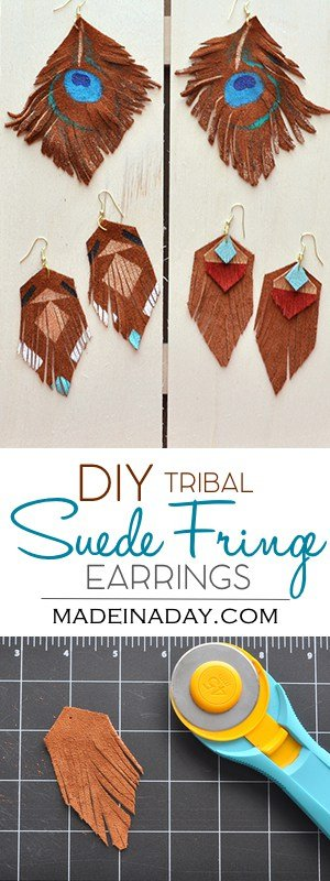 DIY Suede Fringe Earrings, matching earrings to my Suede Fringe necklaces, tribal earrings, southwestern jewelry, suede jewelry, geometric jewelry, easy craft, tribal necklace, how to make earrings. Tutorial on madeinaday.com
