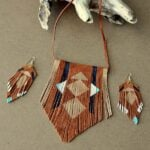 Leather Feather Lariat Necklace 4