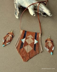 DIY Tribal Suede Fringe Leather Necklace madeinaday.com