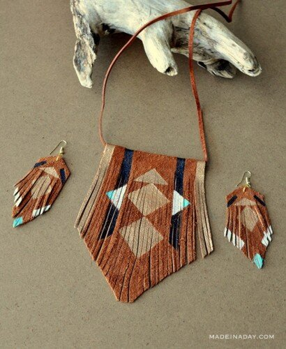 DIY Bohemian Suede Fringe Necklace 2