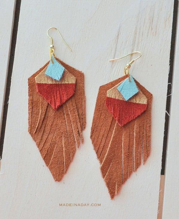 Easy DIY Suede Tassel Fringe Earrings madeinaday.com