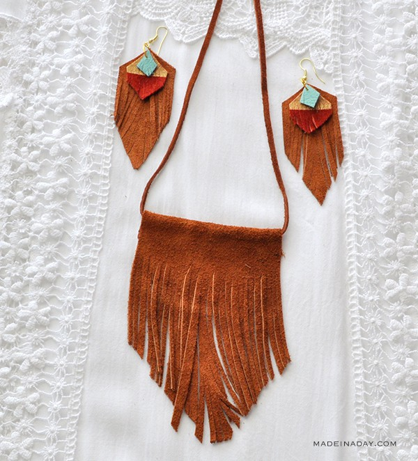Easy Finge Tassel Earrings Necklace Set madeinaday.com