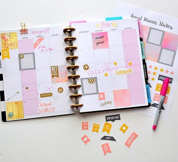 picture about Free Printable Stickers identify August Totally free Printable Planner Stickers Manufactured inside of a Working day