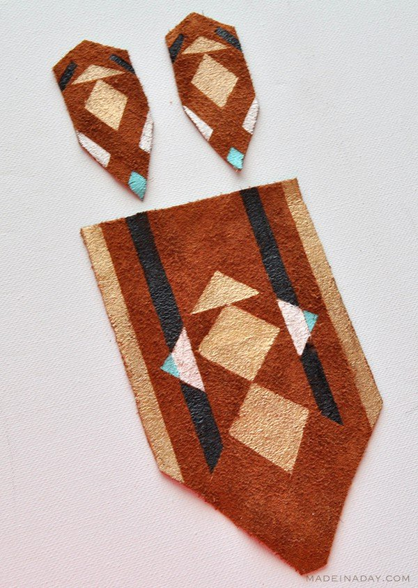 Geometric Tribal Painted Leather Necklace Earrings