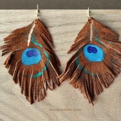 Painted Leather Peacock Feather Earrings madeinaday.com