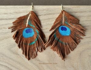 LEATHER PEACOCK EARRINGS