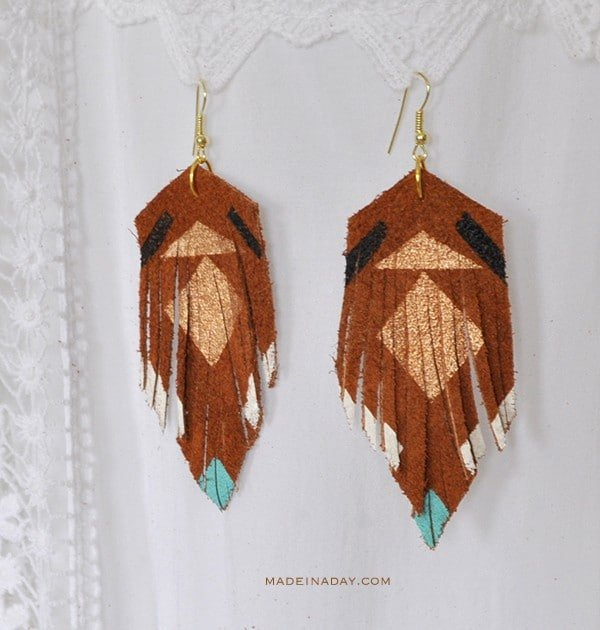 Tribal Southwest Suede Fringe Earrings madeinaday.com