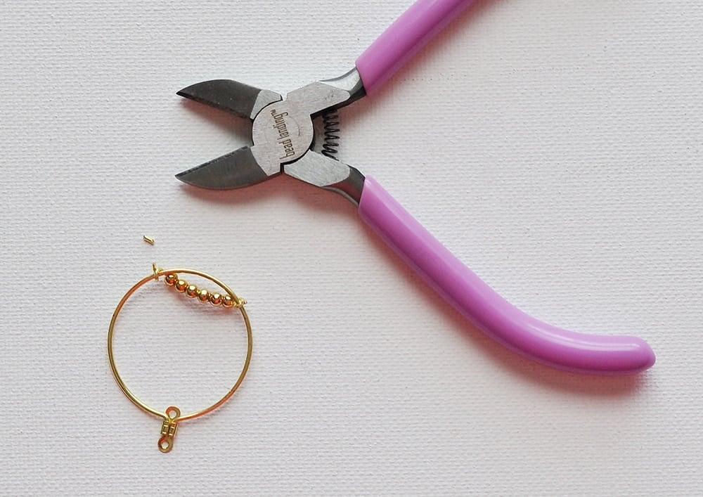 beaded hoop earrings with seed beads