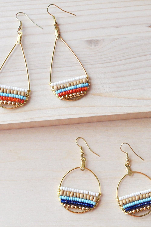 How to Make Beachy Boho Beaded Hoop Earrings