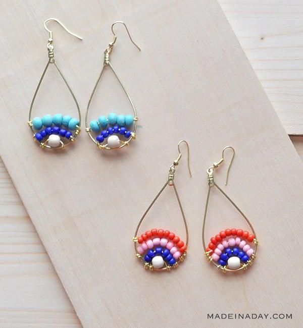 Beaded Hoop Earrings madeinaday.com