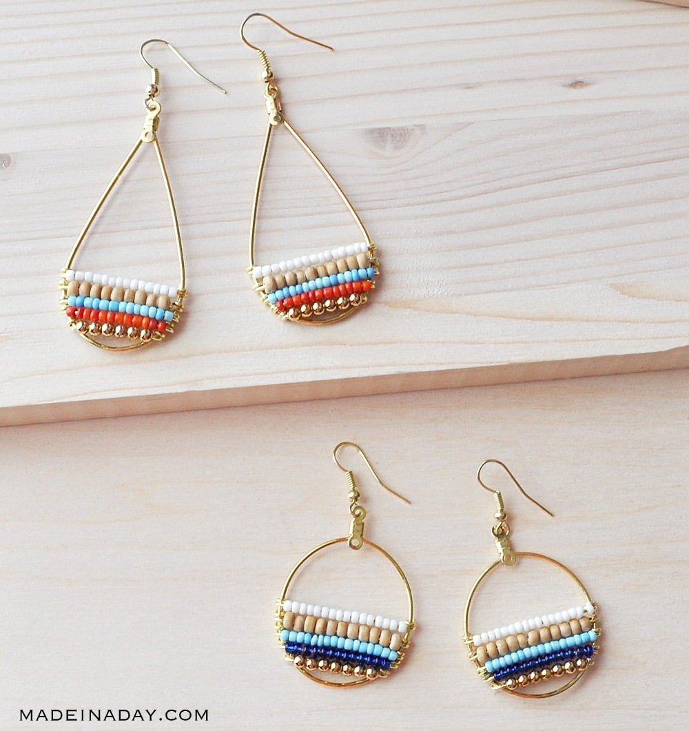 bohemian hoop earrings, seed bead hoop earring tutorial, how to make beaded hoop earrings with wire, seed bead earring, unique beaded earrings