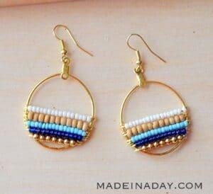 Bohemian Beaded Navy Blue Hoop Earrings madeinaday.com