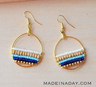 How to Make Beachy Boho Beaded Hoop Earrings