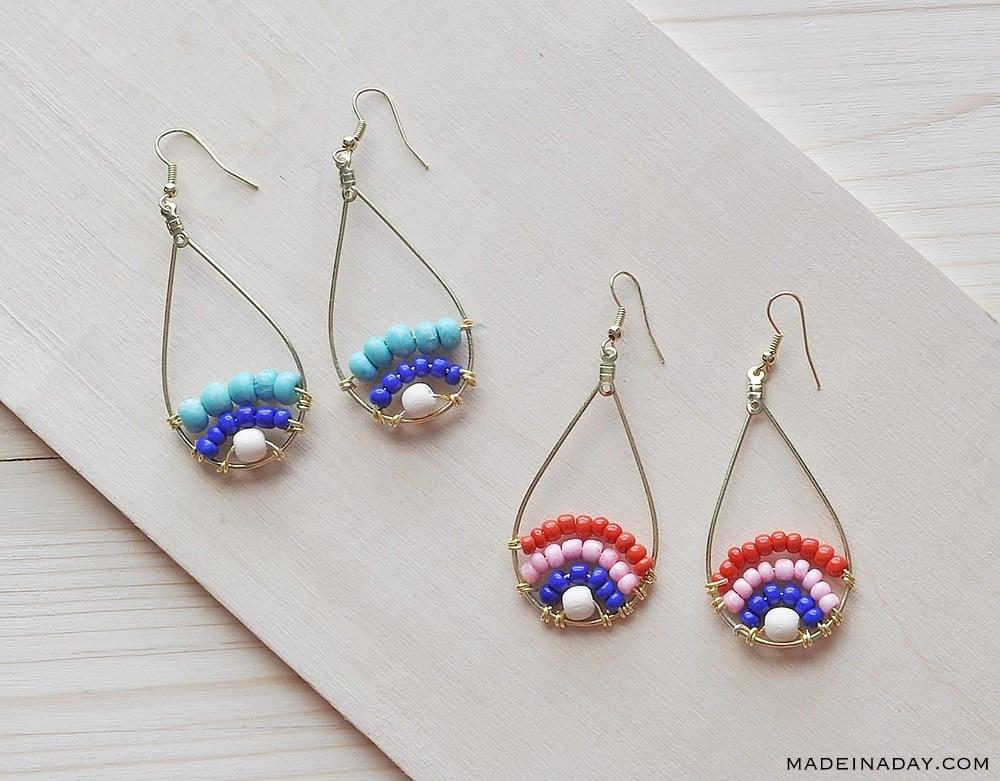 Teardrop beaded earrings, seed bead long hoop earrings, blue red hoop earrings