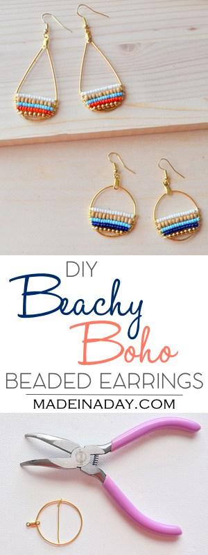 DIY Beachy Bohemain Beaded Hoop Earrings, Super fun layered beaded earrings, so cute & boho. Bohemian, beachy, trendy, hoop earrings, navy blue earrings, wood bead, beaded gold hoop earrings, anthrohack. Tutorial on madeinaday.com