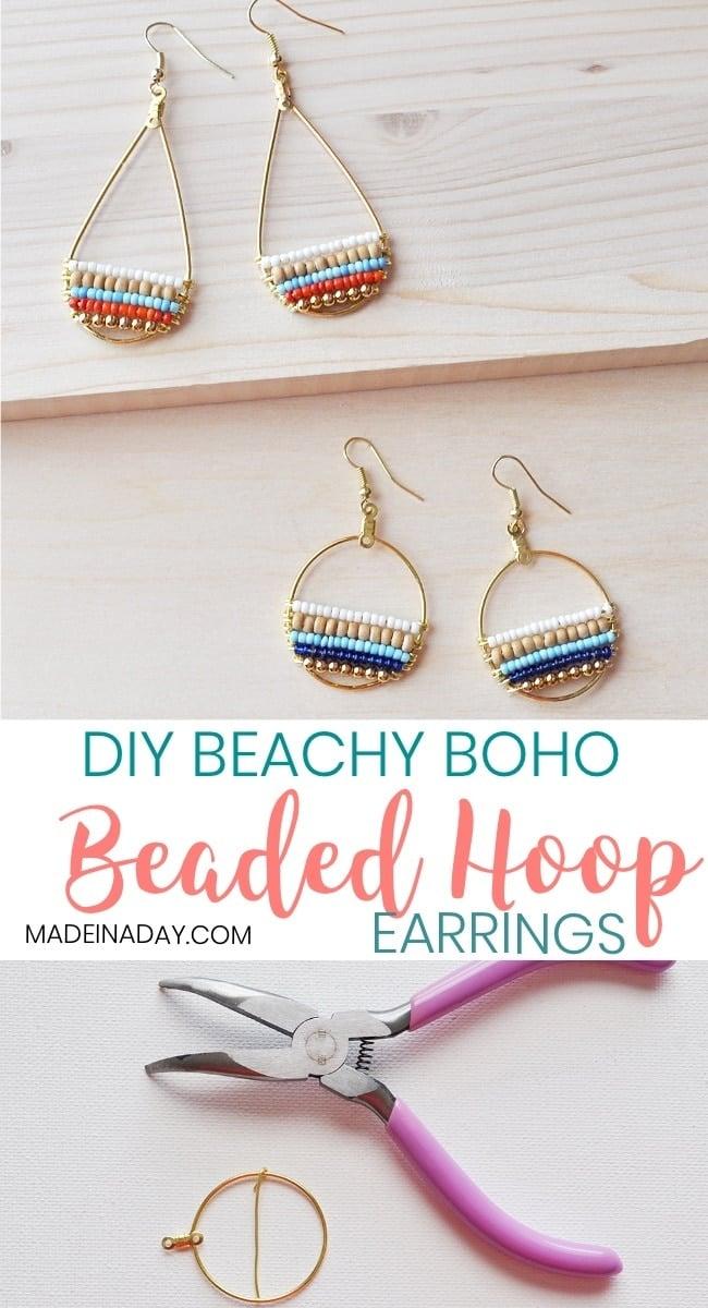 How to Make Beachy Boho Beaded Hoop Earrings, Super fun layered beaded earrings, so cute & boho. Bohemian hoop earrings, beachy, trendy, wire hoop earrings, navy blue earrings, wood seed bead earrings, beaded hoops, #anthrohack #beaded #earrings #hoop #jewelry #seedbead
