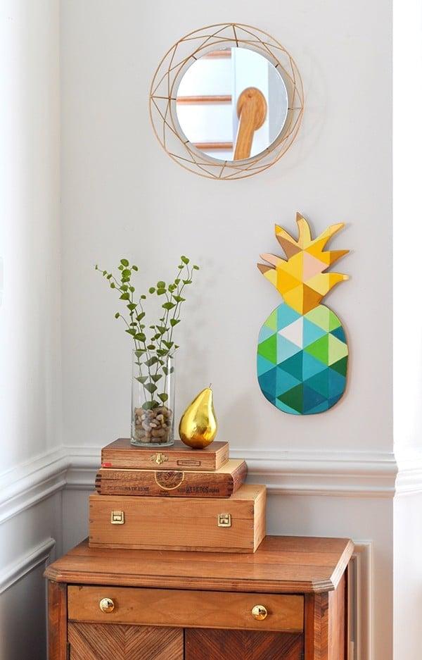 DIY Teal Gold Green Geometric Pineapple Wall Art madeinaday.com
