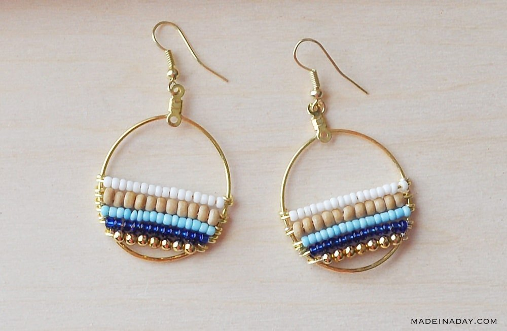 blue natural gold beaded hoop earrings, make layered beaded earrings, seed bead hoop earrings