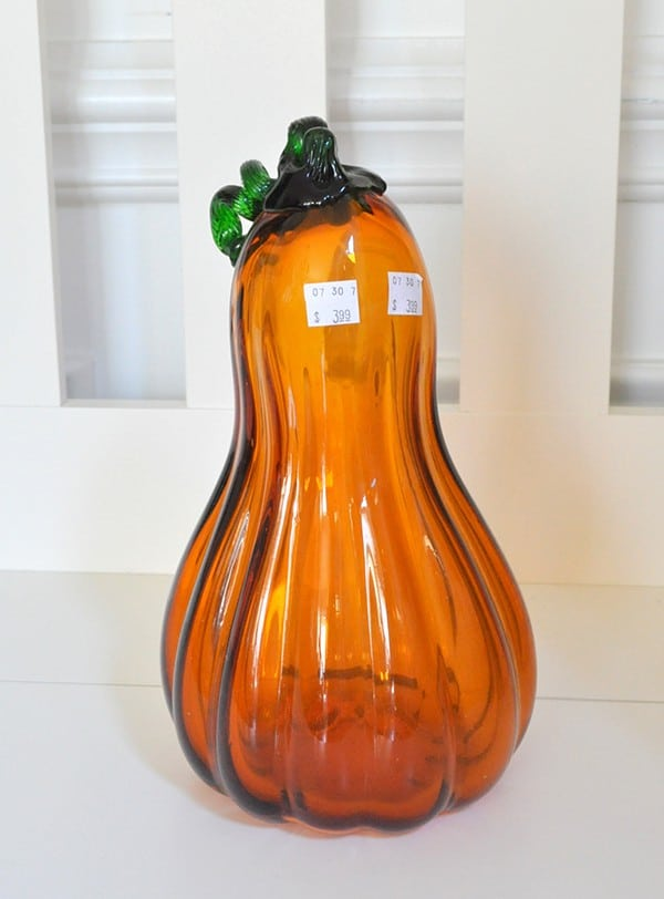 blown glass Pumpkin makeover with looking glass paint