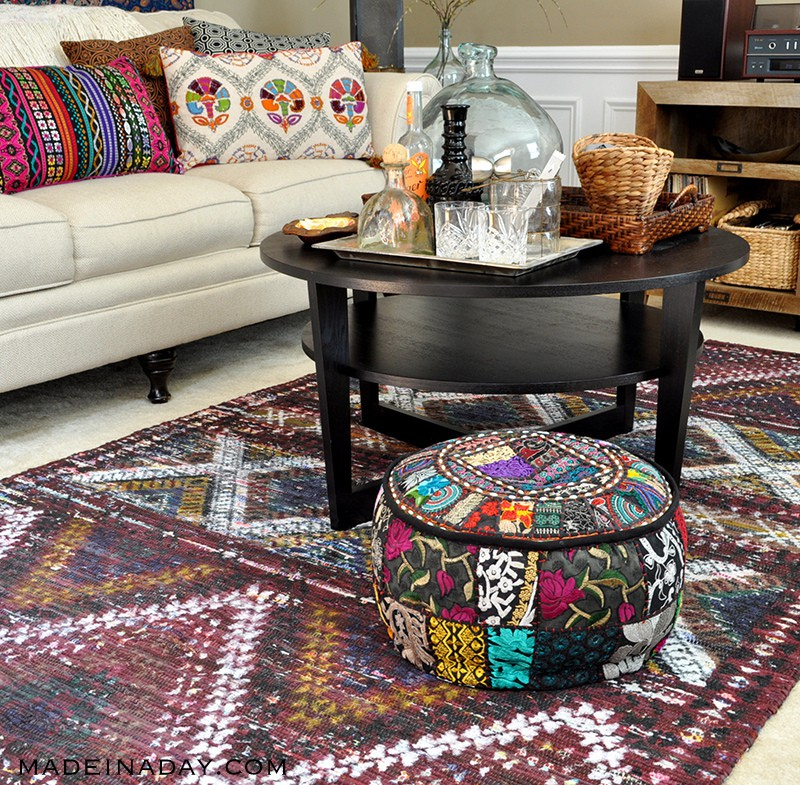 Boho Living Room Makeover Pop Of Color With World Market Made In Custom Pouf Ottoman World Market