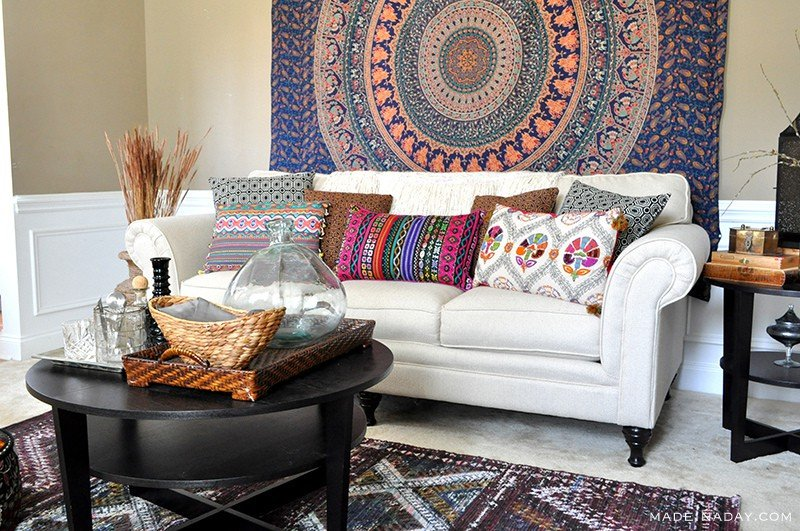 world market living room boho living room makeover pop of color with world market 13546
