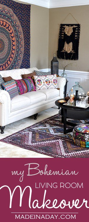 Boho Living Room Makeover: Pop of Color Costplus World Market, Chindi Tasmin area rug, throw pillows, poufs, vase, Ginger cordial, 60's hip pad, bohemian music room, see more on madeinaday.com #ad #worldmarkettribe #FallHomeRefresh