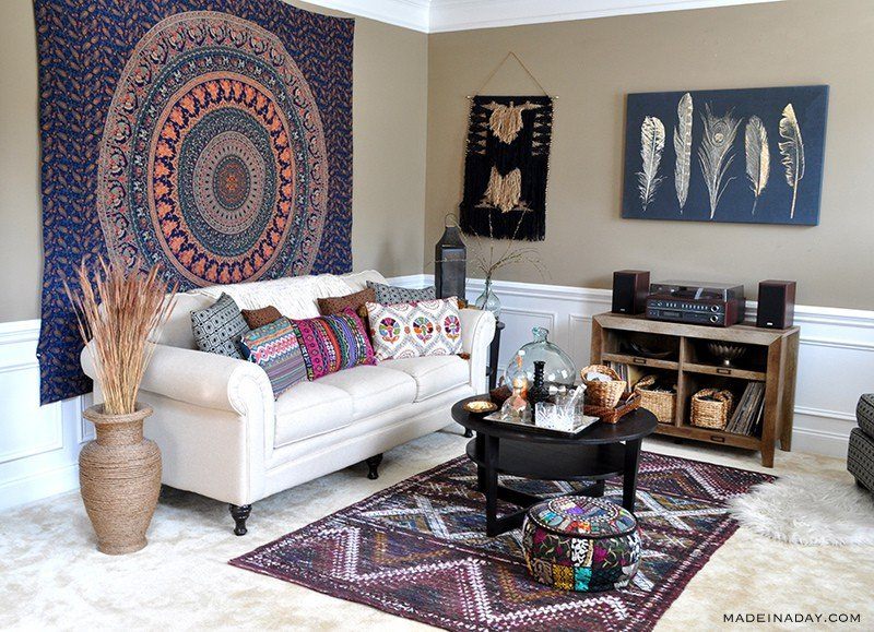 Boho living room makeover pop of color with world market for Bohemian chic living room makeover