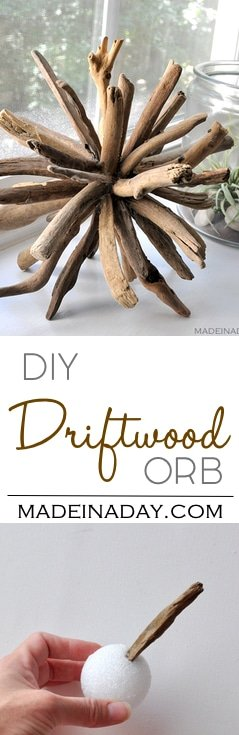 DIY Driftwood Orb Home Decor,Learn to make this unique piece with a coastal home decor theme. driftwood crafts, home decor, wood orb