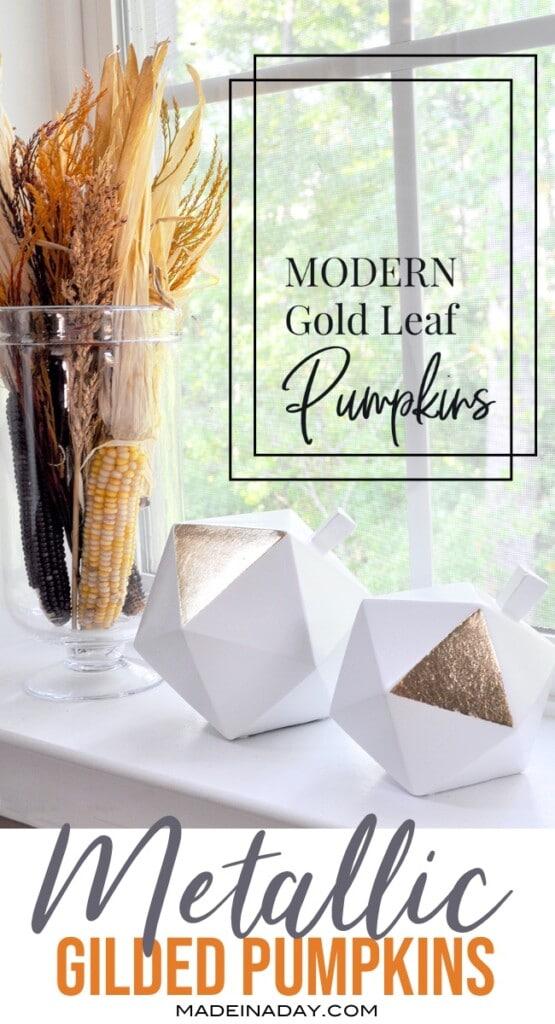 metallic gold pumpkins, gold leaf pumpkins, gilded pumpkins