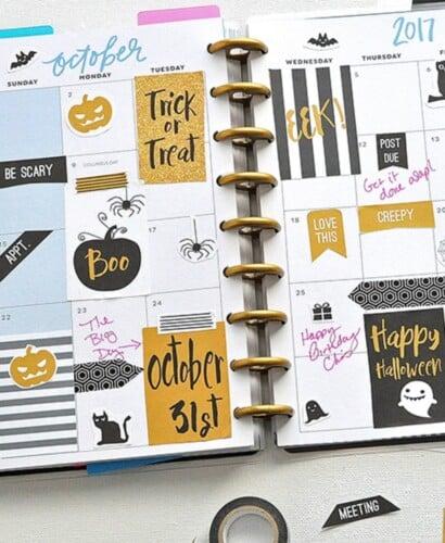 October Halloween FREE Printable Planner Stickers 33