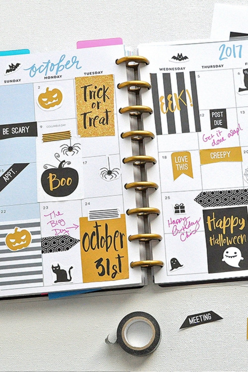 October Halloween FREE Printable Planner Stickers