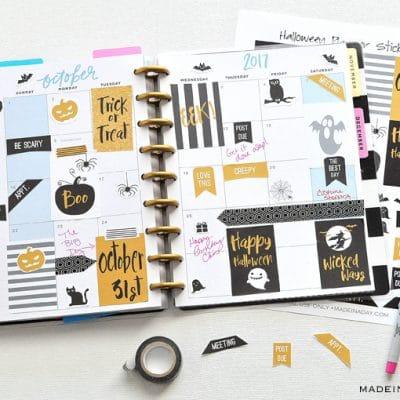 NEW October Halloween FREE Printable Planner Stickers