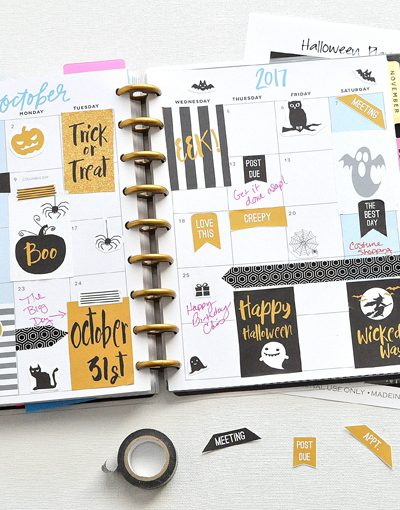 NEW October Halloween FREE Printable Planner Stickers