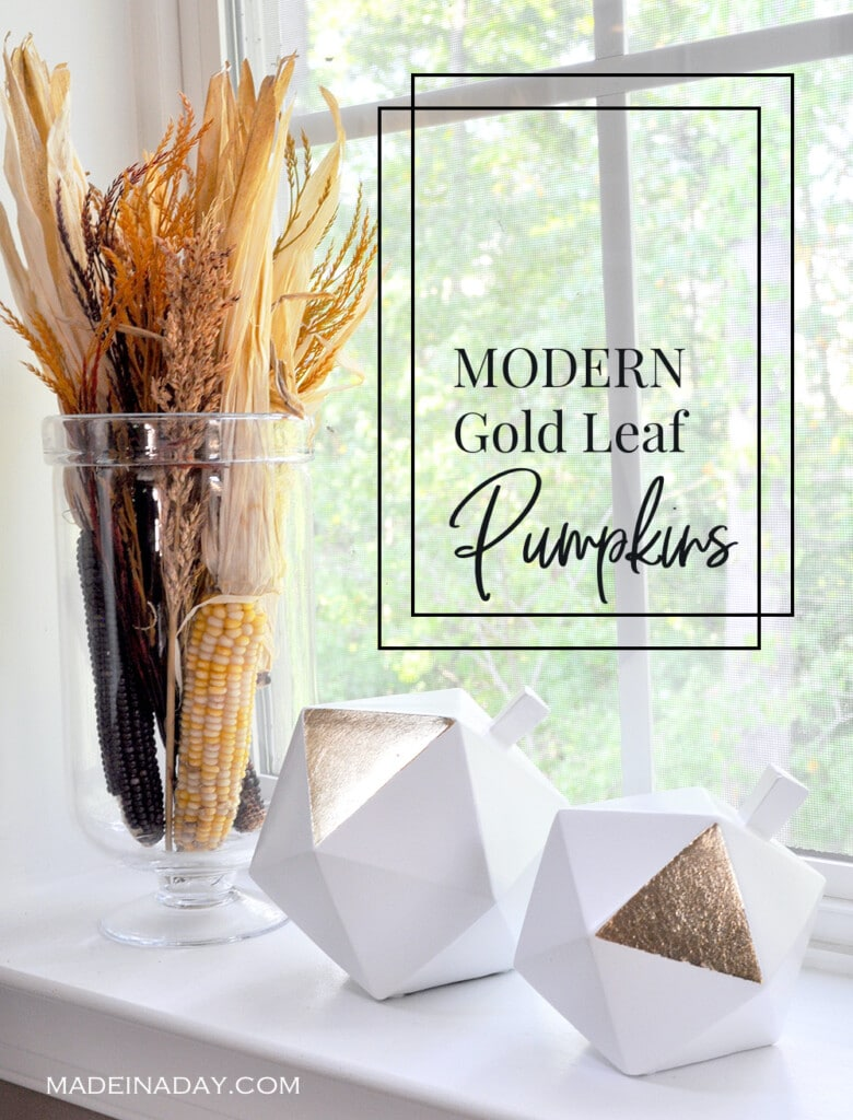 Modern Gold Leaf Pumpkins, geometric pumpkins, gold gilded pumpkins