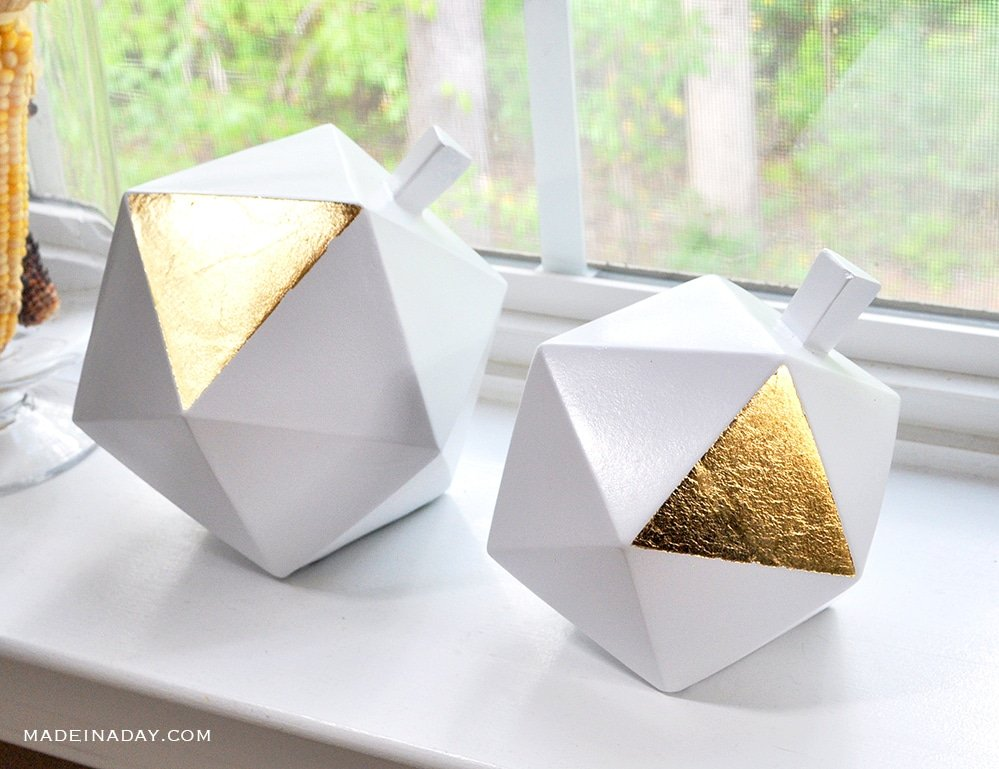 modern gold leaf pumpkins, gold geometric pumpkins, gilded pumpkin