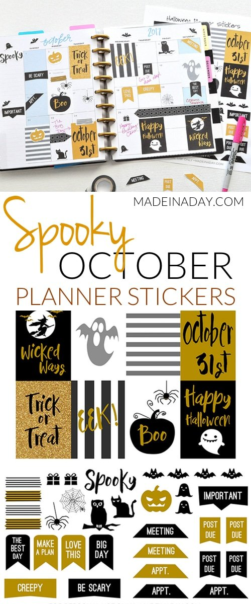 graphic about Halloween Stickers Printable identified as Oct Halloween No cost Printable Planner Stickers Produced within just
