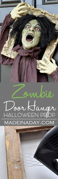 Halloween Zombie Door Hanger Prop,Take a ground breaker prop and turn it into a creepy door hanger! Check out the tutorial for this super easy Halloween decor