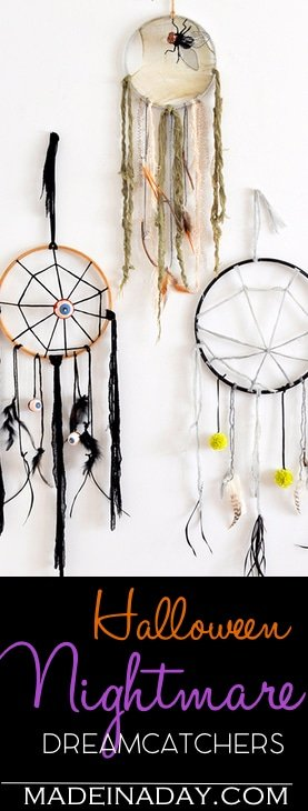 DIY Creepy Halloween Dreamcatchers, learn to make this cute Halloween decor, Spider web, creepy fabric, feathers, nightmare catcher, halloween decor, easy crafts
