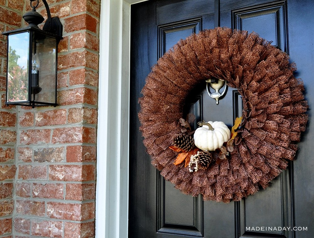 Fall White Pumpkin Ribbon Wreath