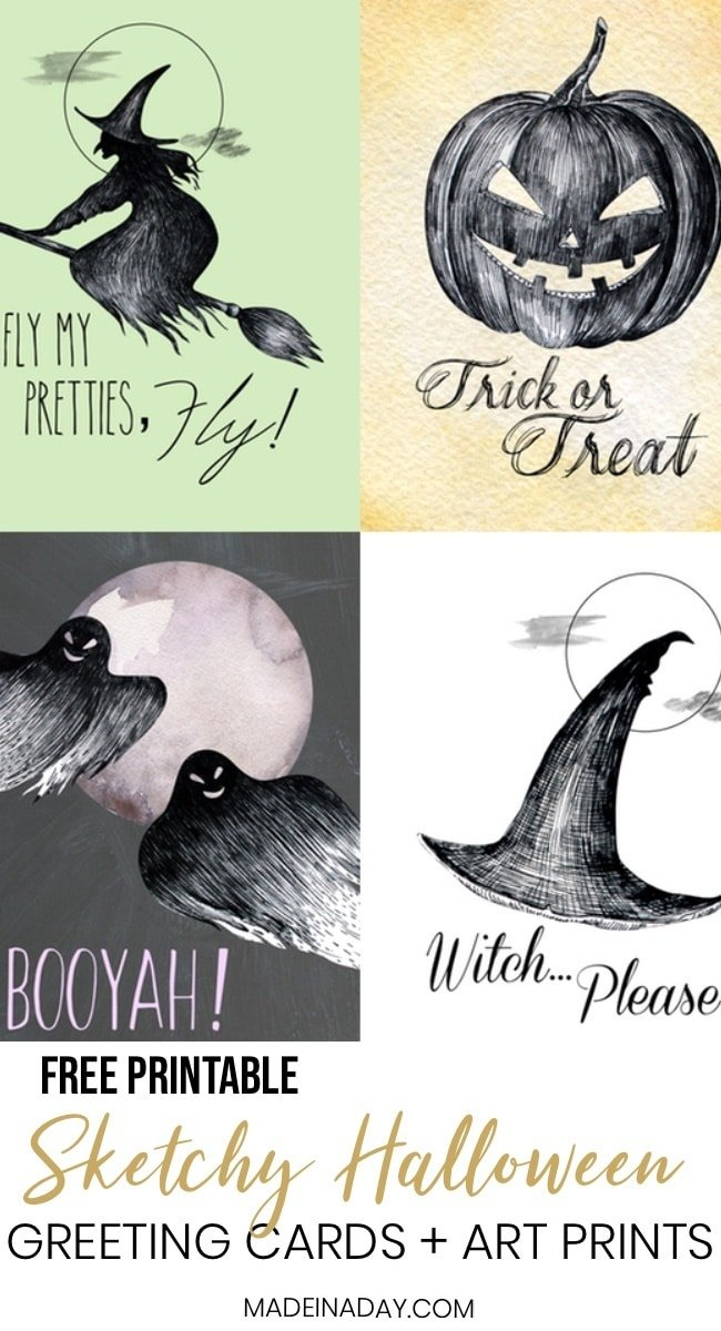 Halloween Greeting Cards, Halloween Art Prints, Halloween Free Printables