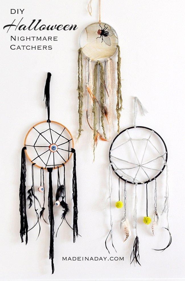 halloween Wreath, Halloween Dreamcatchers, spider dreamcatcher, fly dreamcatcher, eyeball dreamcatcher, Halloween Wreath