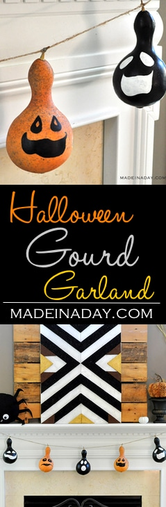 Halloween Gourd Garland, painted gourd for Halloween decor, Gourd banner, black gourd, gourd Jack O'Lanterns, Halloween decorations, easy craft, DIY, paint