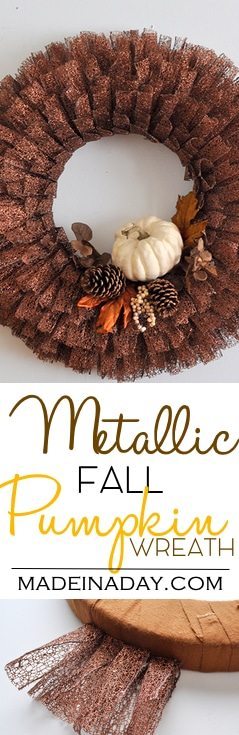 Fall Pumpkin Metallic Ribbon Wreath 2
