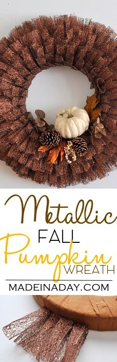 Fall Pumpkin Metallic Ribbon Wreath, See the tutorial on how to make this large layered ribbon wreath for fall! White Pumpkin, fall leaf, metallic wreath, pine cone