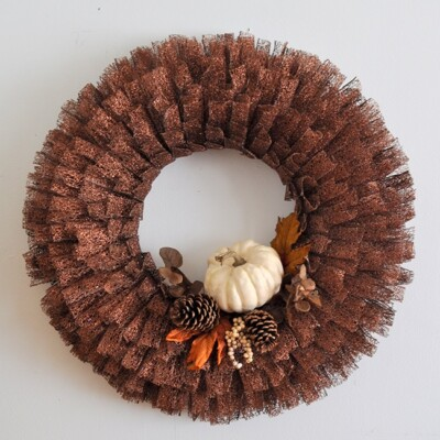 Fall Pumpkin Metallic Ribbon Wreath