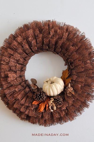 Fall Pumpkin Metallic Ribbon Wreath