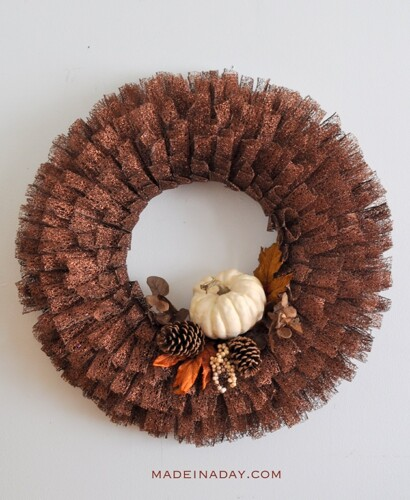 Dazzling Fall Pumpkin Metallic Ribbon Wreath 12